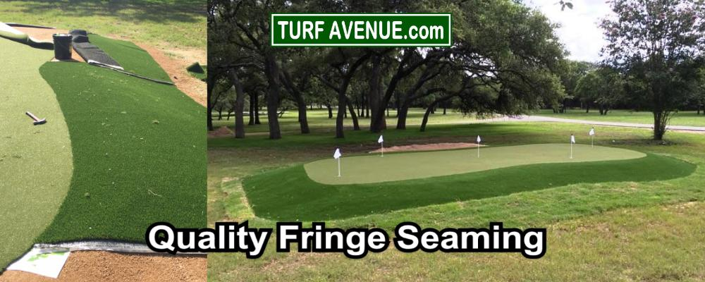 seam the fringe to the green with seam tape and turf adhesive